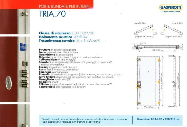 una porta blindata per interno modello Tria.70
