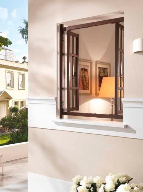 una finestra aperta e sull destra una apliche