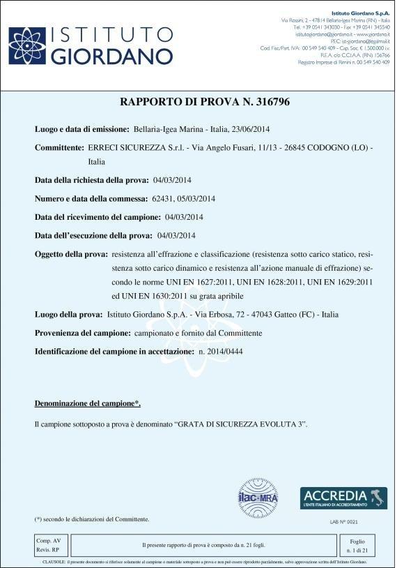 un certificato da Istituto Giordano