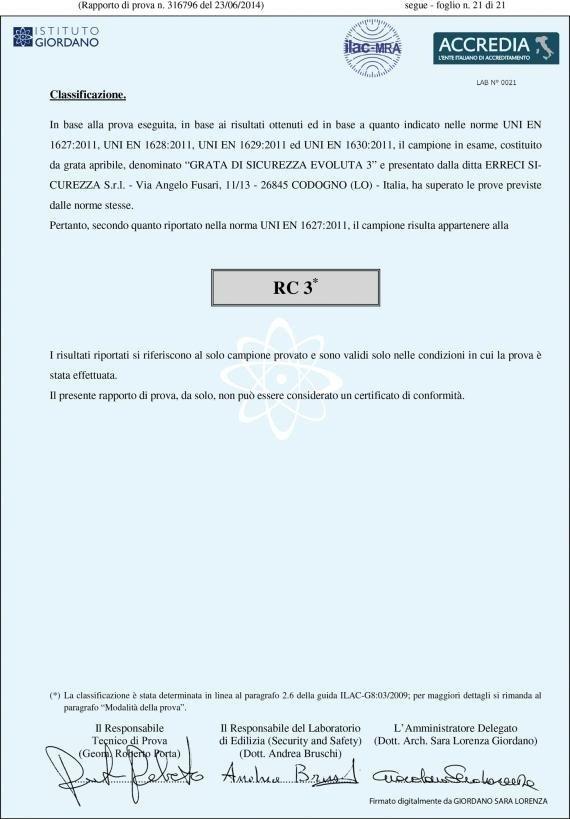 un certificato di classificazione RC 3