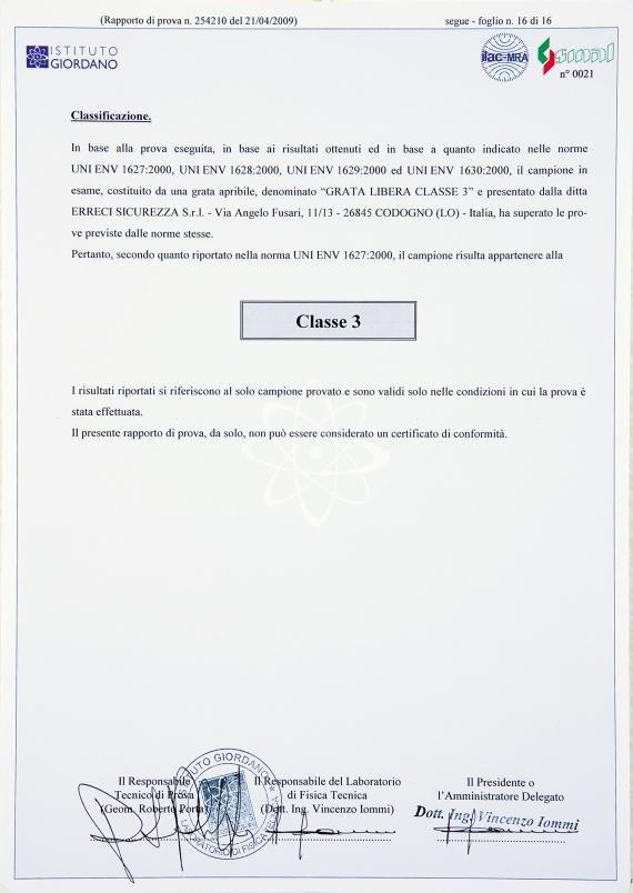 una certificazione di Classe 3