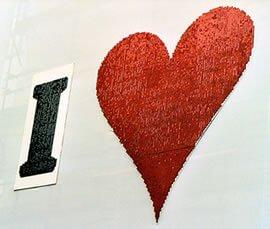 Heart shaped shimmer sign