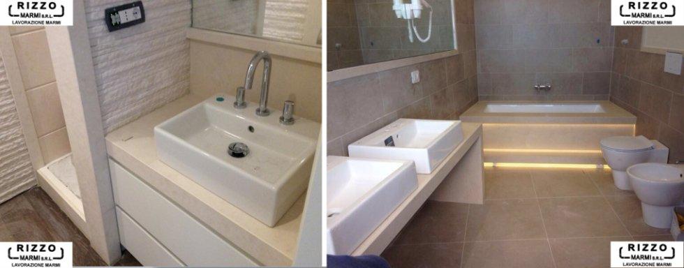 bangno su misura con lavabi, bide e arredamento in marmo