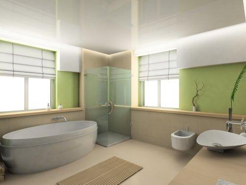 render in 3D di bagno con vasca idromassaggio e box doccia