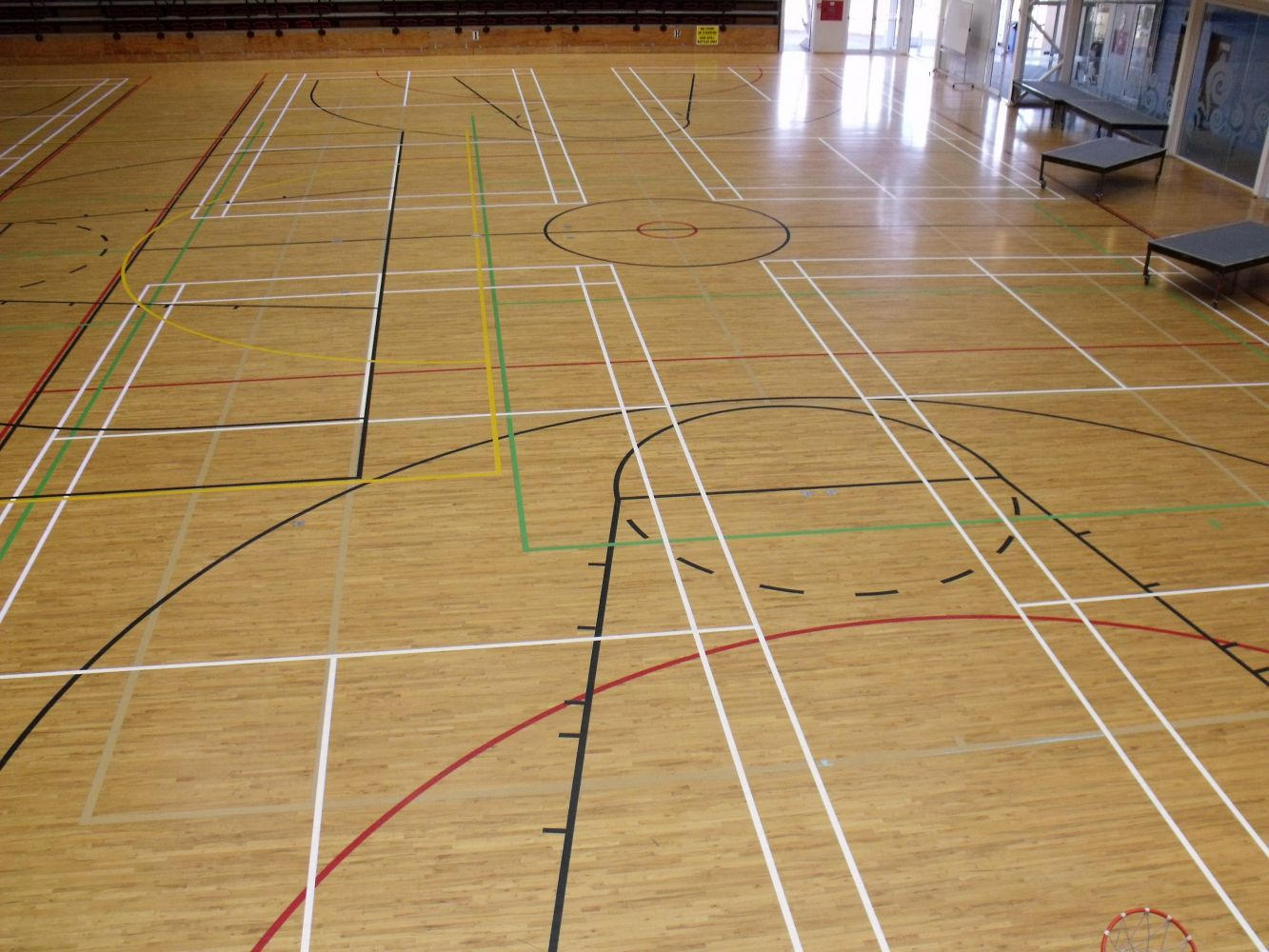 Line markings at an indoor gym