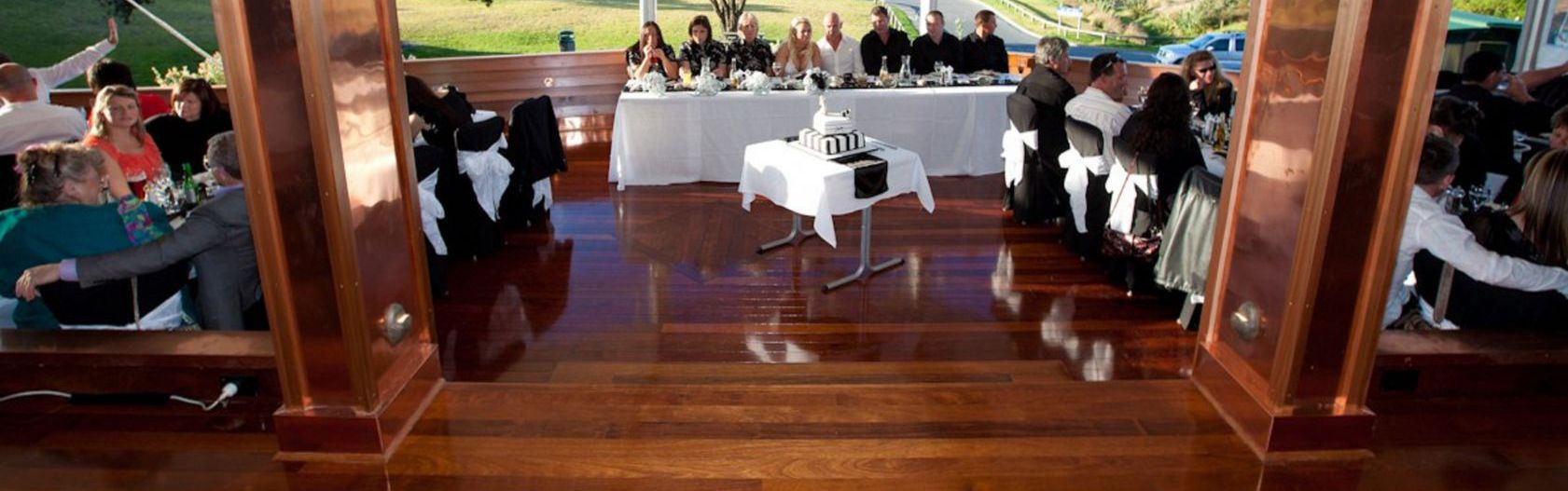 A wedding reception in the Bay of Plenty after one of our timber floor finishes