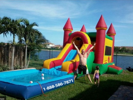 Bounce house water slide rental broward county fl for Party house for sale