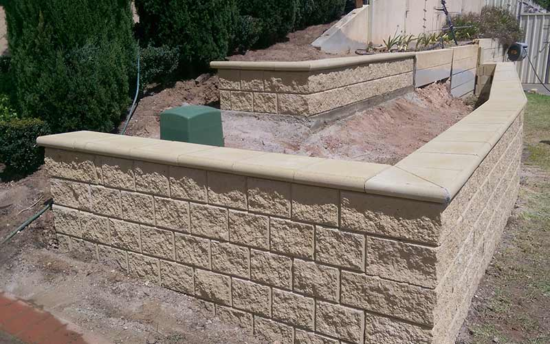 Retaining walls being built in Adelaide