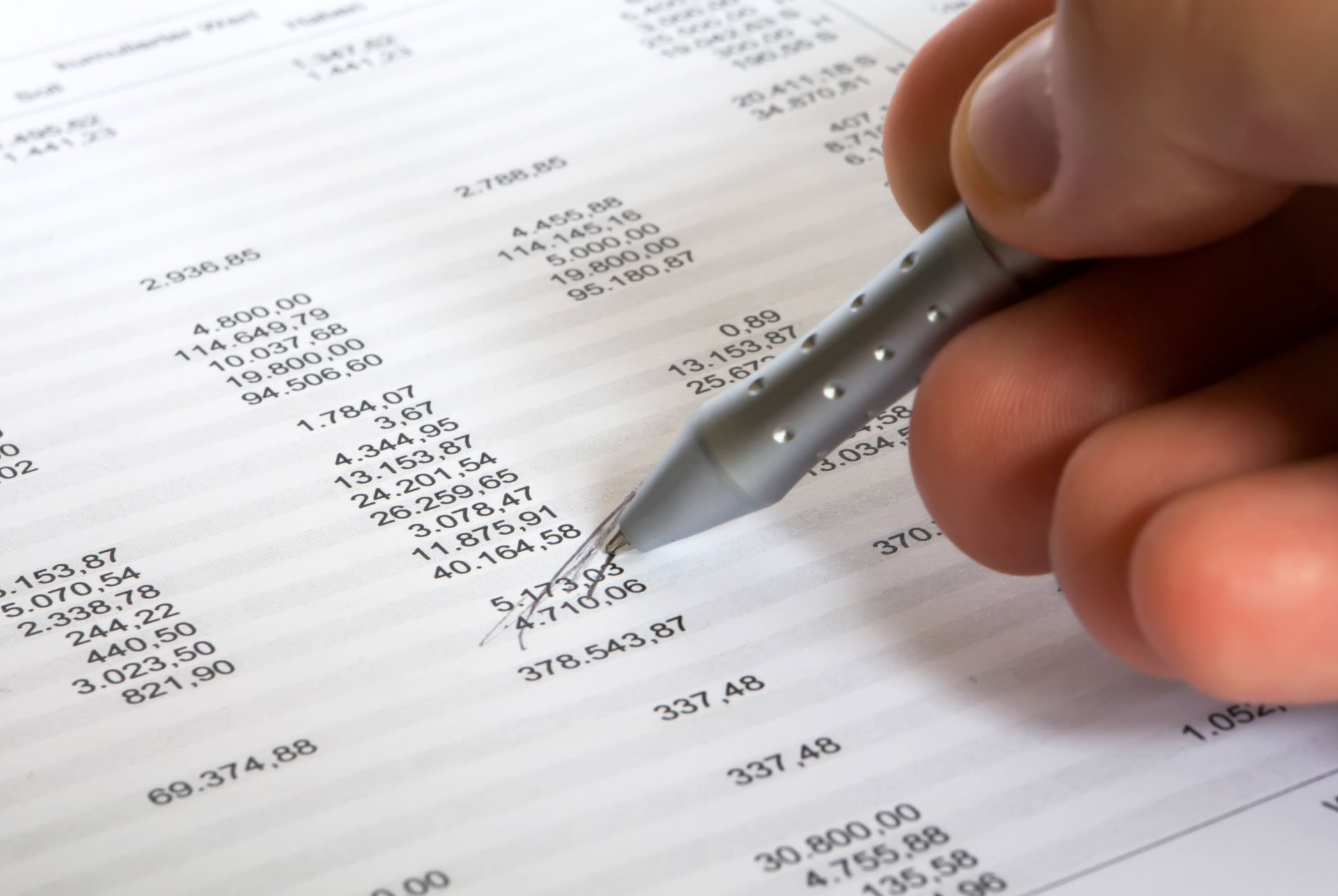 accountant calculating payment report