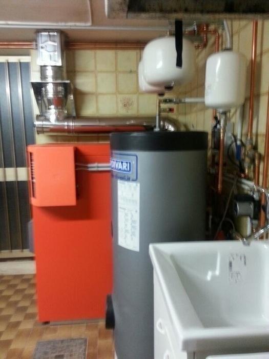 caldaia in alluminio rossa cilindrica