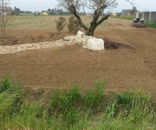 Vista di un terreno enorme, una macchina agricola sul lato destro mentre ara il terreno