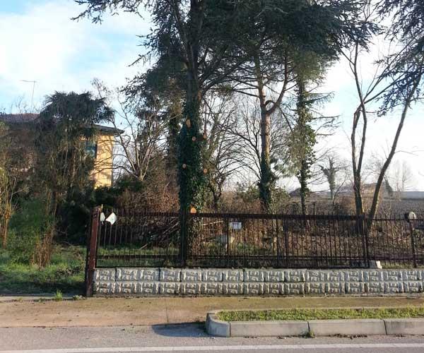 Vista di una vecchia villa e degli alberi alti intorno