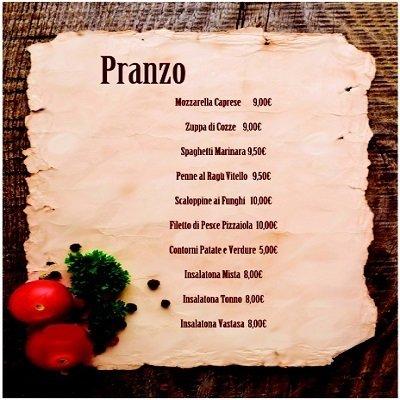 il menu di pranzo