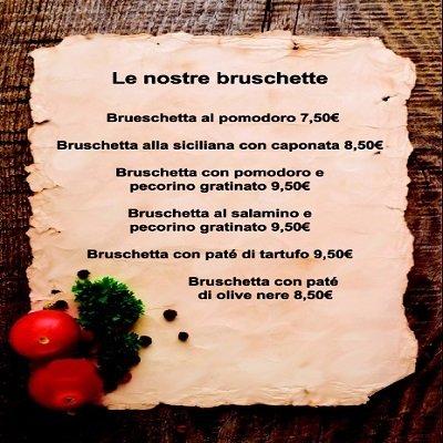 il menu delle bruschette