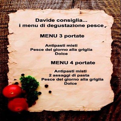 i menu di degustazione pesce