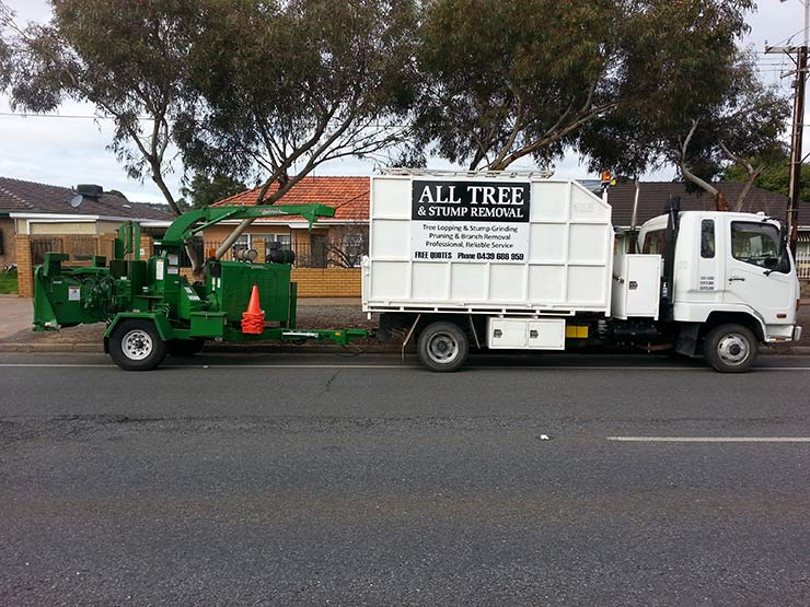 all tree and stump removal truck near residentioal area