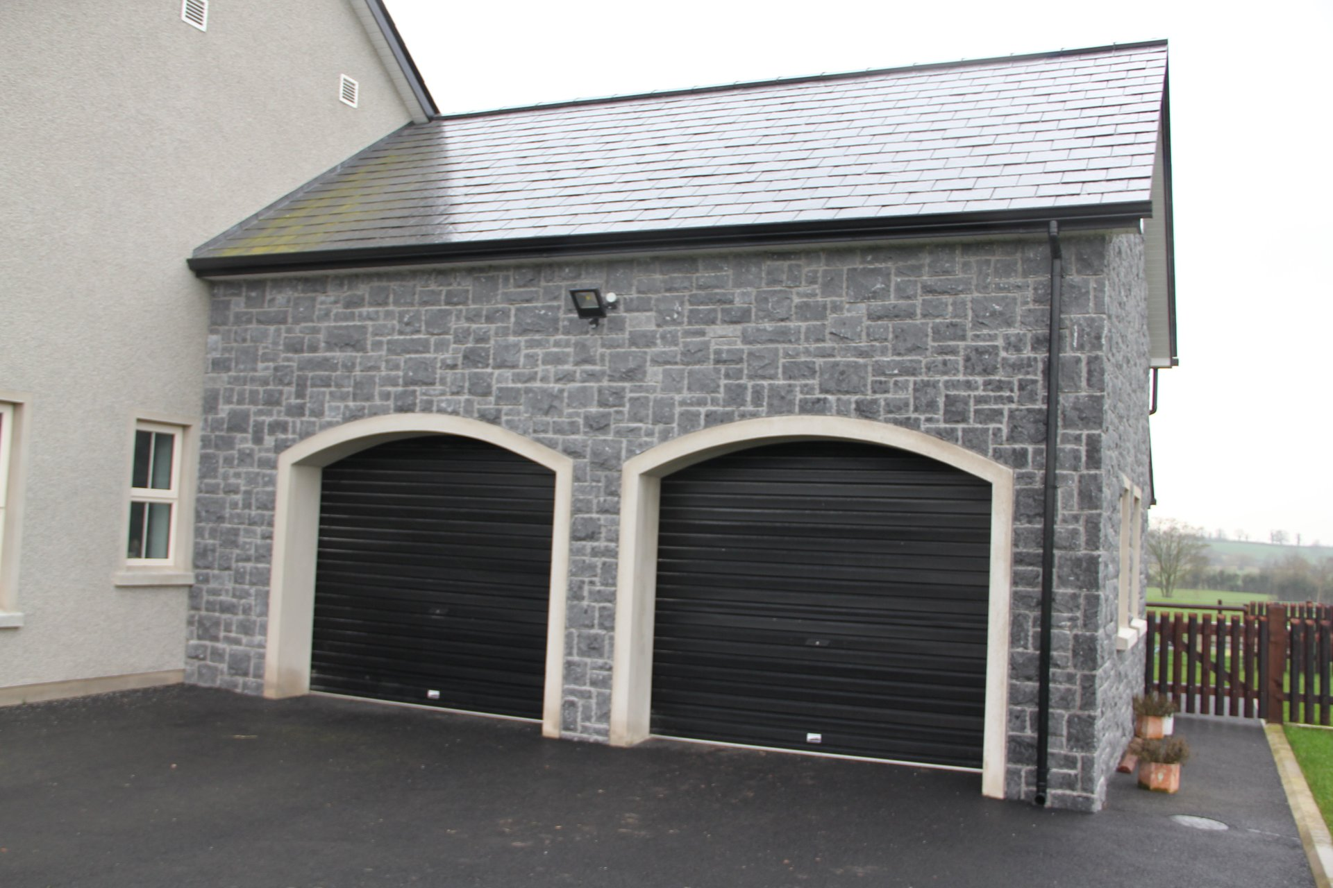 Natural stone cladding garage