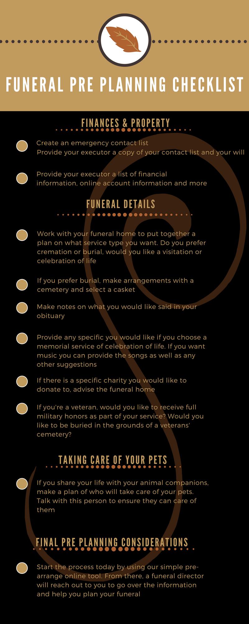 funeral pre planning checklist