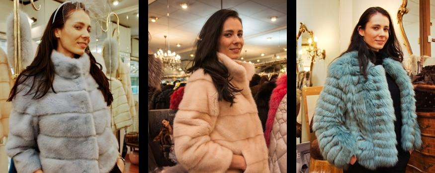 Donna che indossa pellicce di diverso colore
