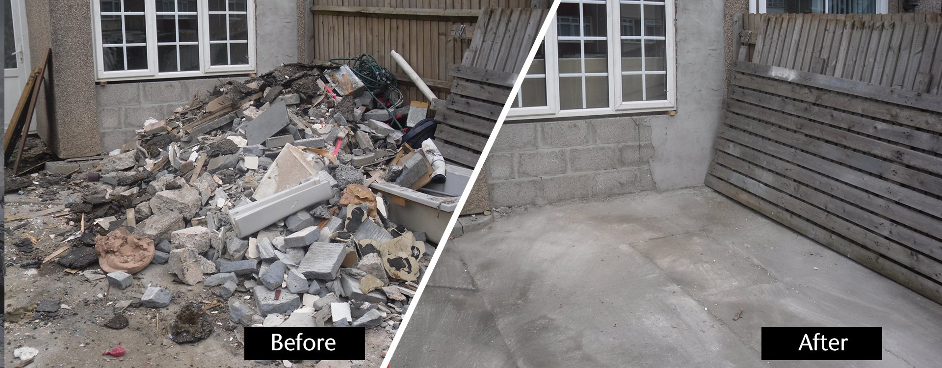 rubbish before and after removal