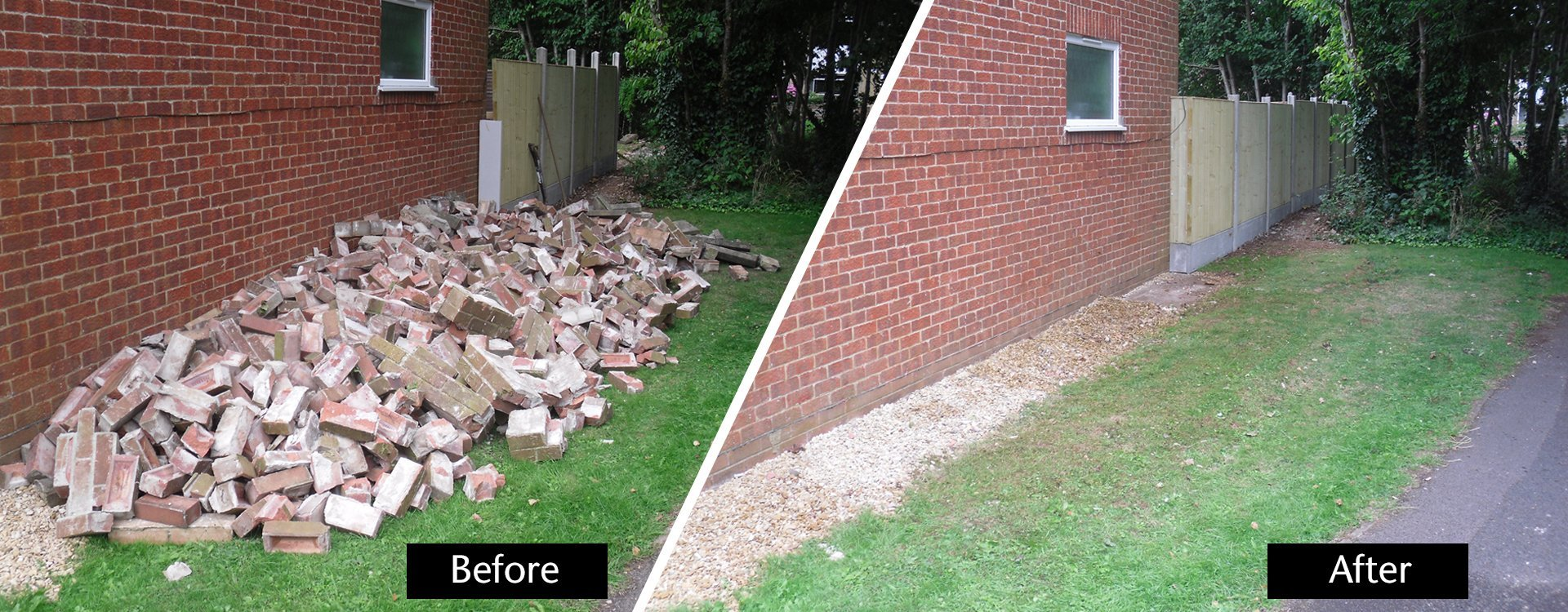 bricks before and after removal