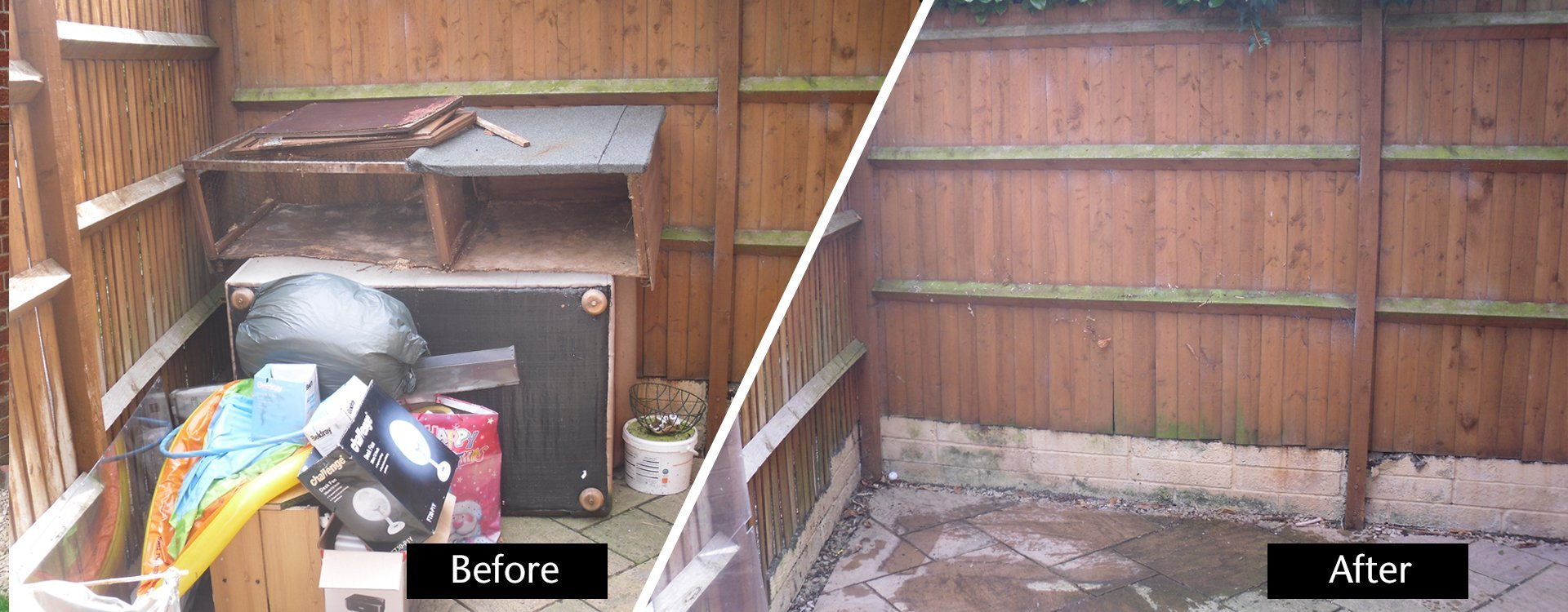 rubbish before and after disposal