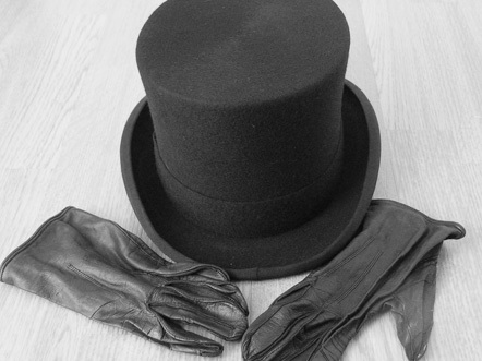 Funeral directors hat and leather gloves