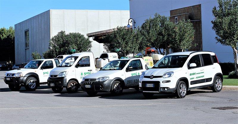 furgoni e auto da lavoro di color bianco parcheggiate davanti a una serie di alberi in una zona industriale