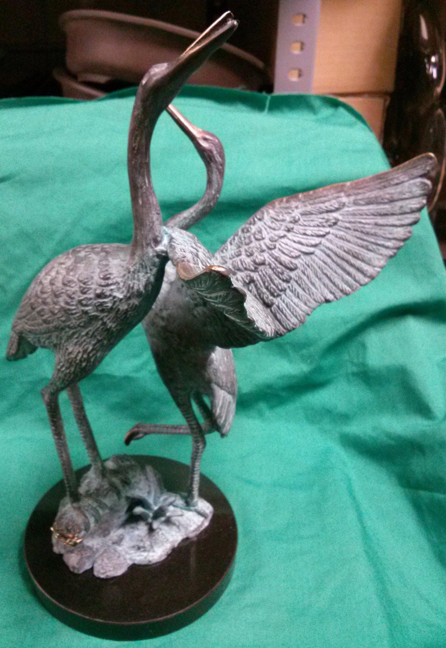 Bronze pair of standing crane tsuru in Honolulu, HI