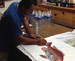 Naoki Hayashi doing painting in Honolulu, HI