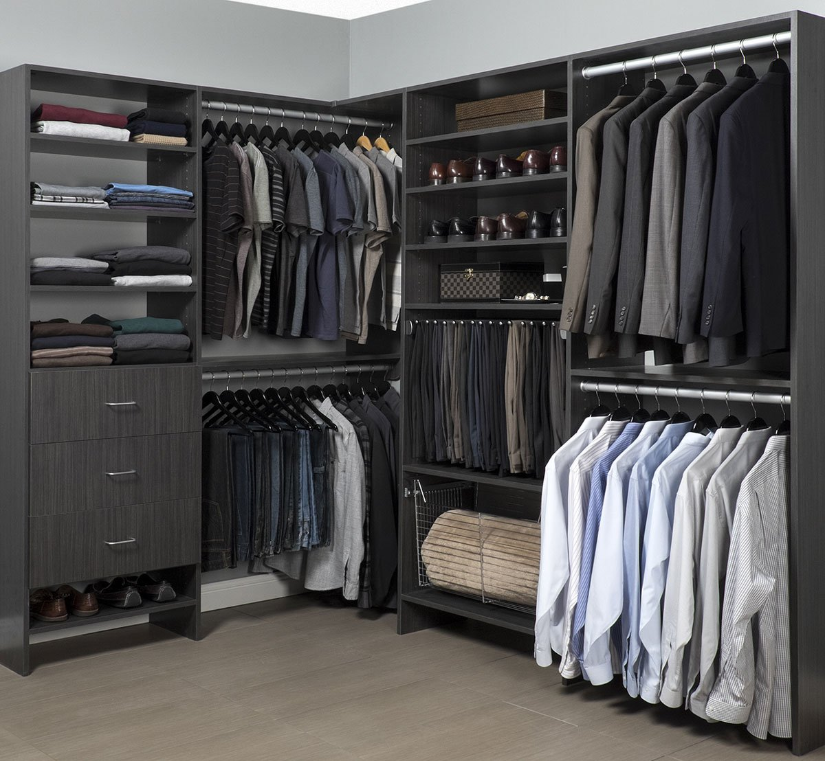 Closet organizers sacramento custom closets and garage for Men s walk in wardrobe