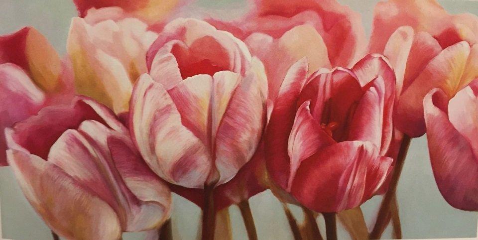 quadro che rappresenta dei tulipani rossi