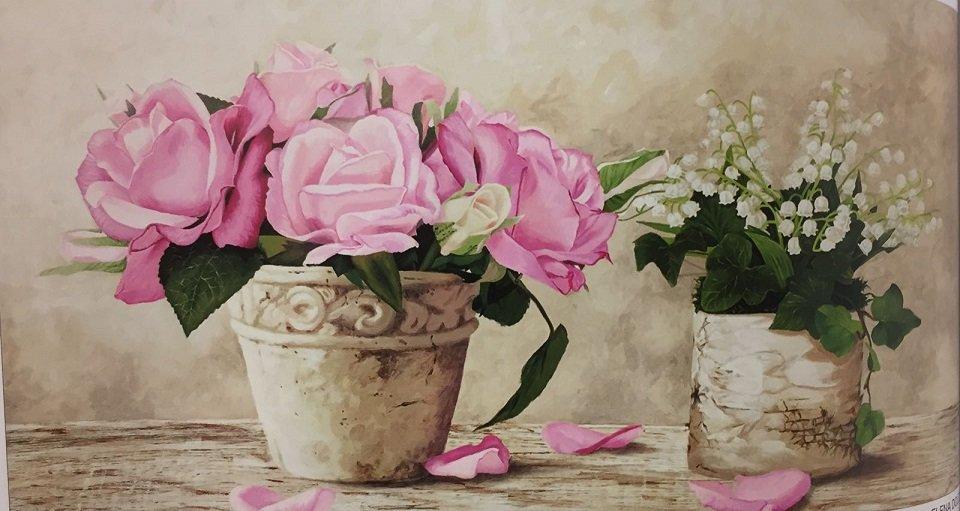 quandro che rappresenta un vaso con fiori rosa e uno con fiori bianchi