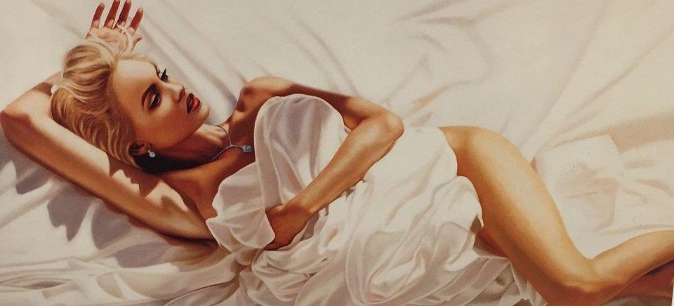quandro che rappresenta una donna sul letto con il lenzuolo sul corpo