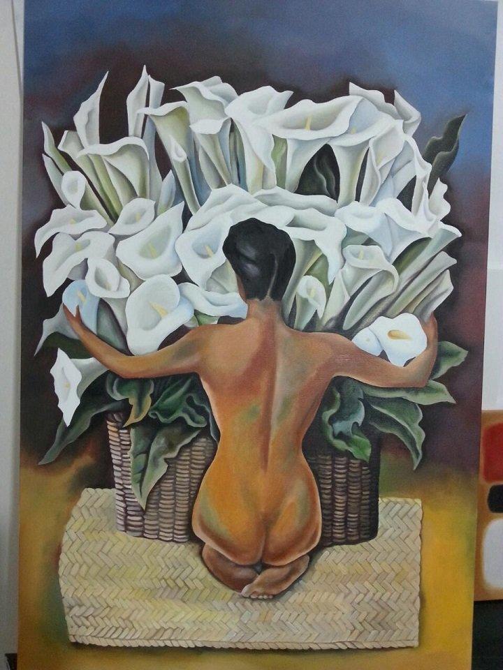 quandro che rappresenta una donna nuda di spalle con davanti un mazzo di calle