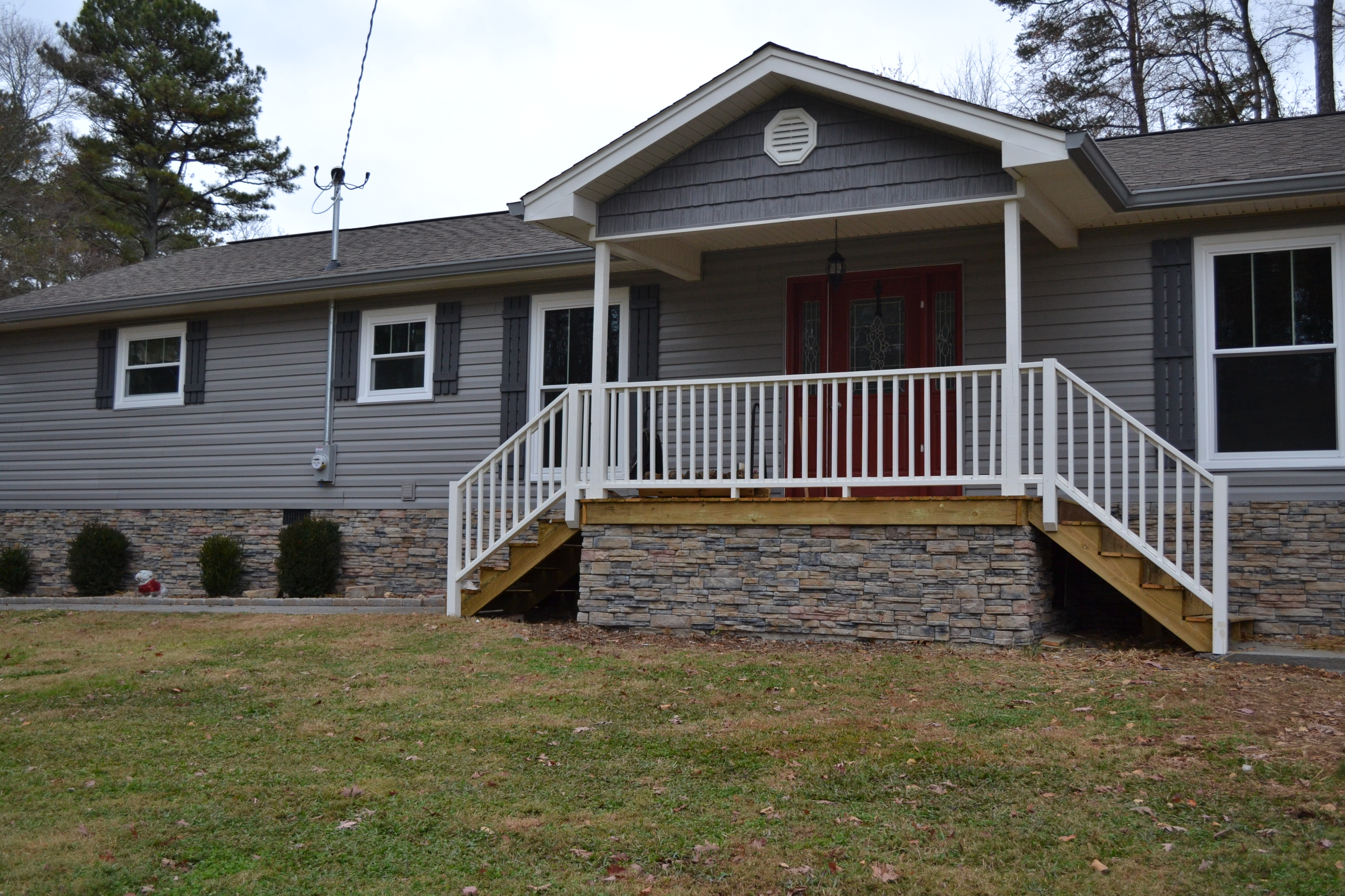 Update your mobile home with stone veneer siding!