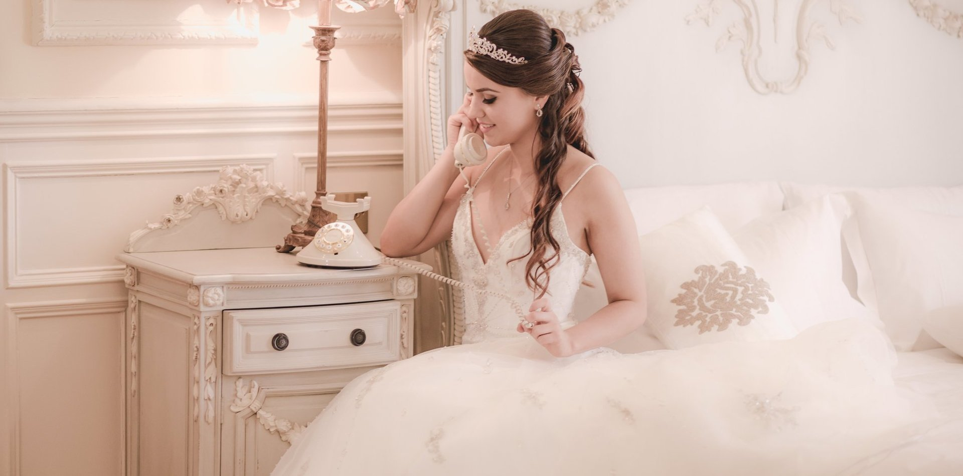 Bride talking on the phone