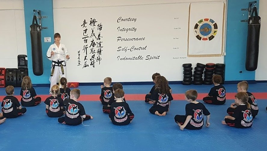children with the instructor
