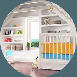letto,cassettone,armadio,carrozzine e orso in colore bianco
