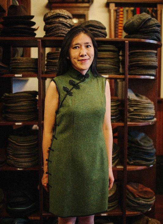 Dr Yupin Chung, East Asia art Curator of the Burrell Collection, Glasgow Scotland, wears a bespoke tailored Stewart Christie tweed Dress