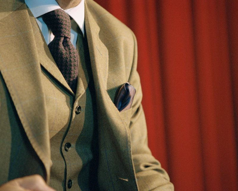 Close up of the Stewart Christie & Co. Tailored Tweed suit worn byMark Adams Artistic Director Edinburgh International Film Festival