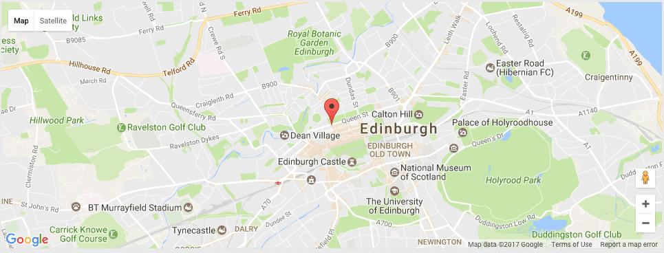 A map of Stewart `christie & Co Queen Street Edinburgh Scotland
