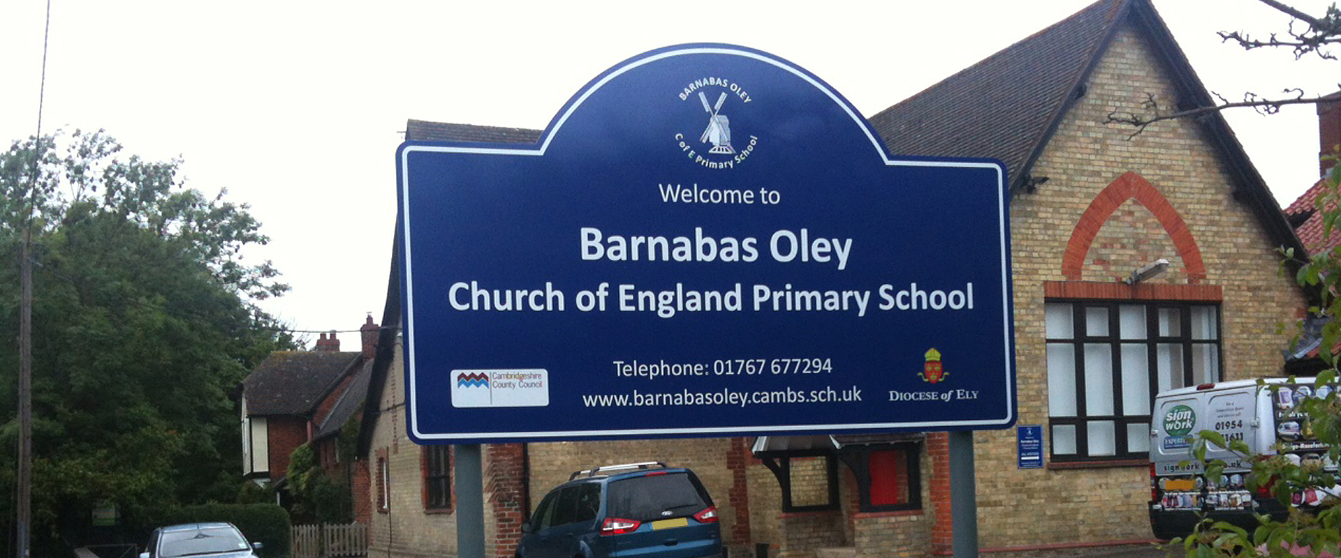 Signage in front of a school