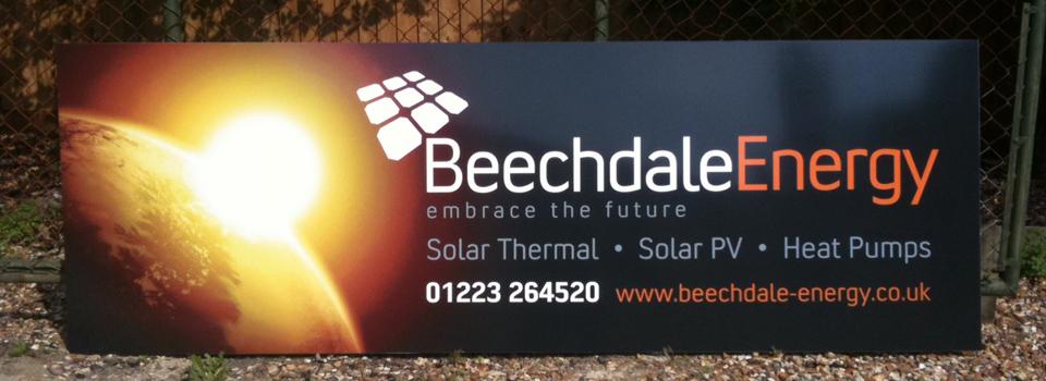 A banner advertising renewable energy