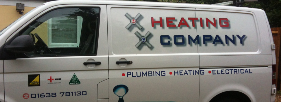 Corporate signage on the side of a van