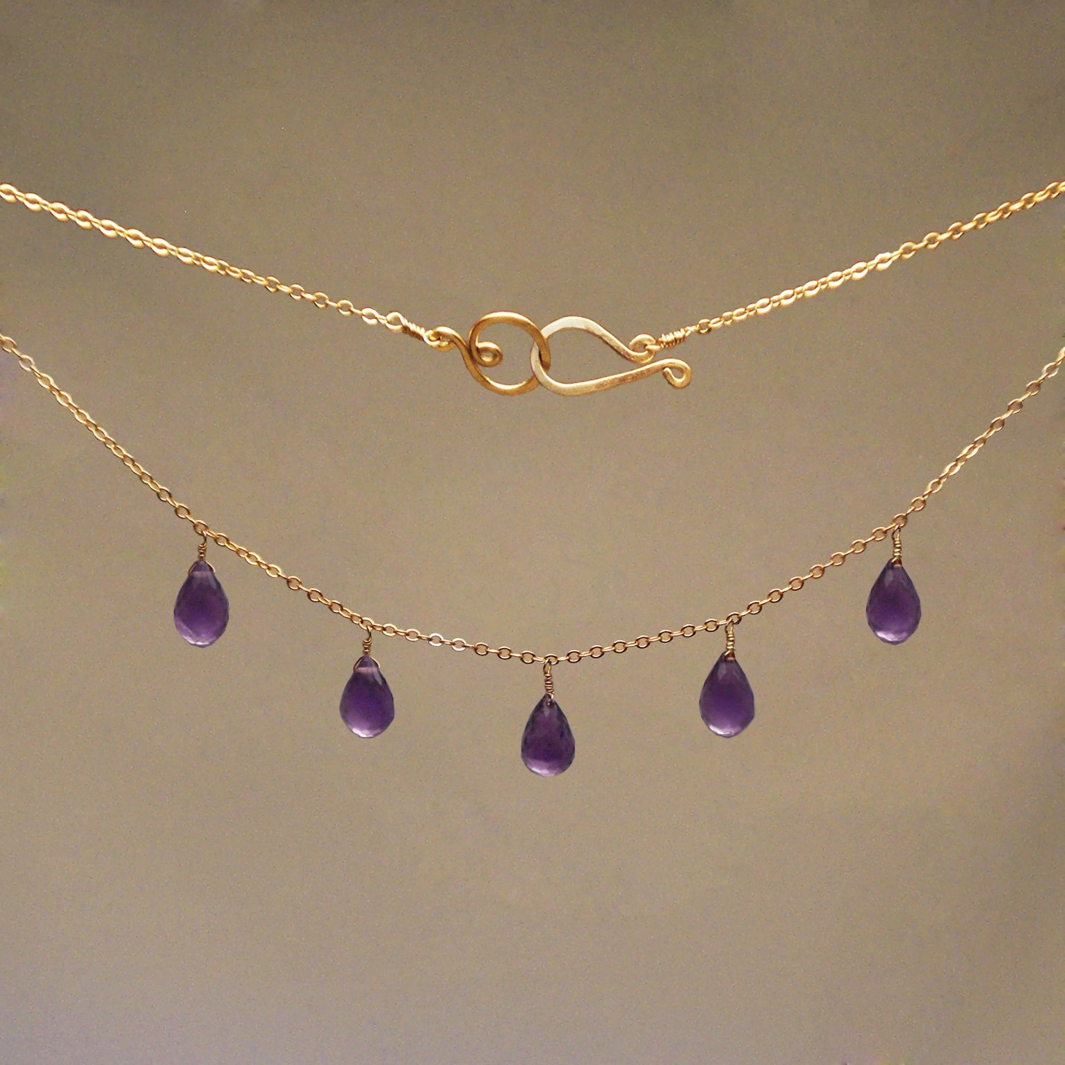 Amethyst Gem Drop Necklace