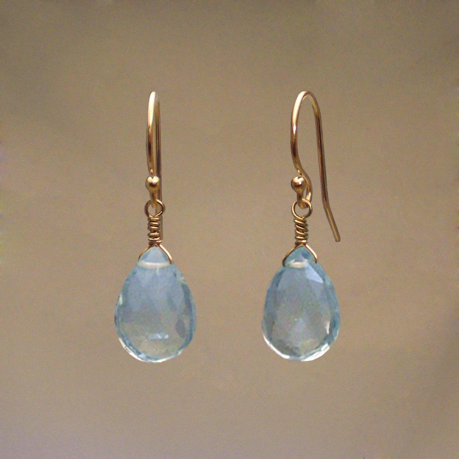 Blue Topaz Gem Drop Earrings