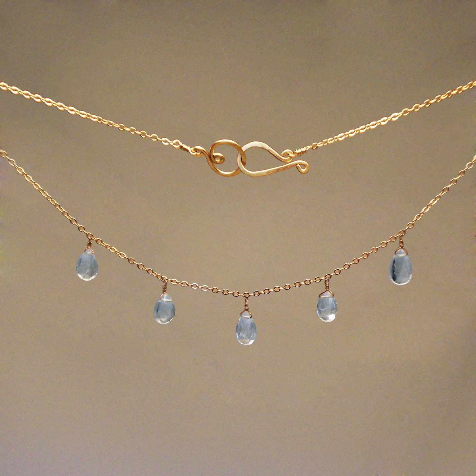 Blue Topaz Gem Drop Necklace
