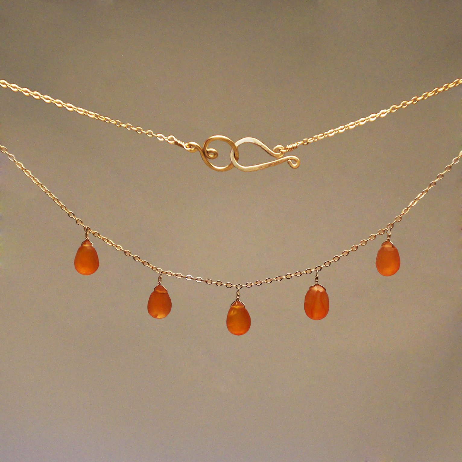 Carnelian Gem Drop Necklace