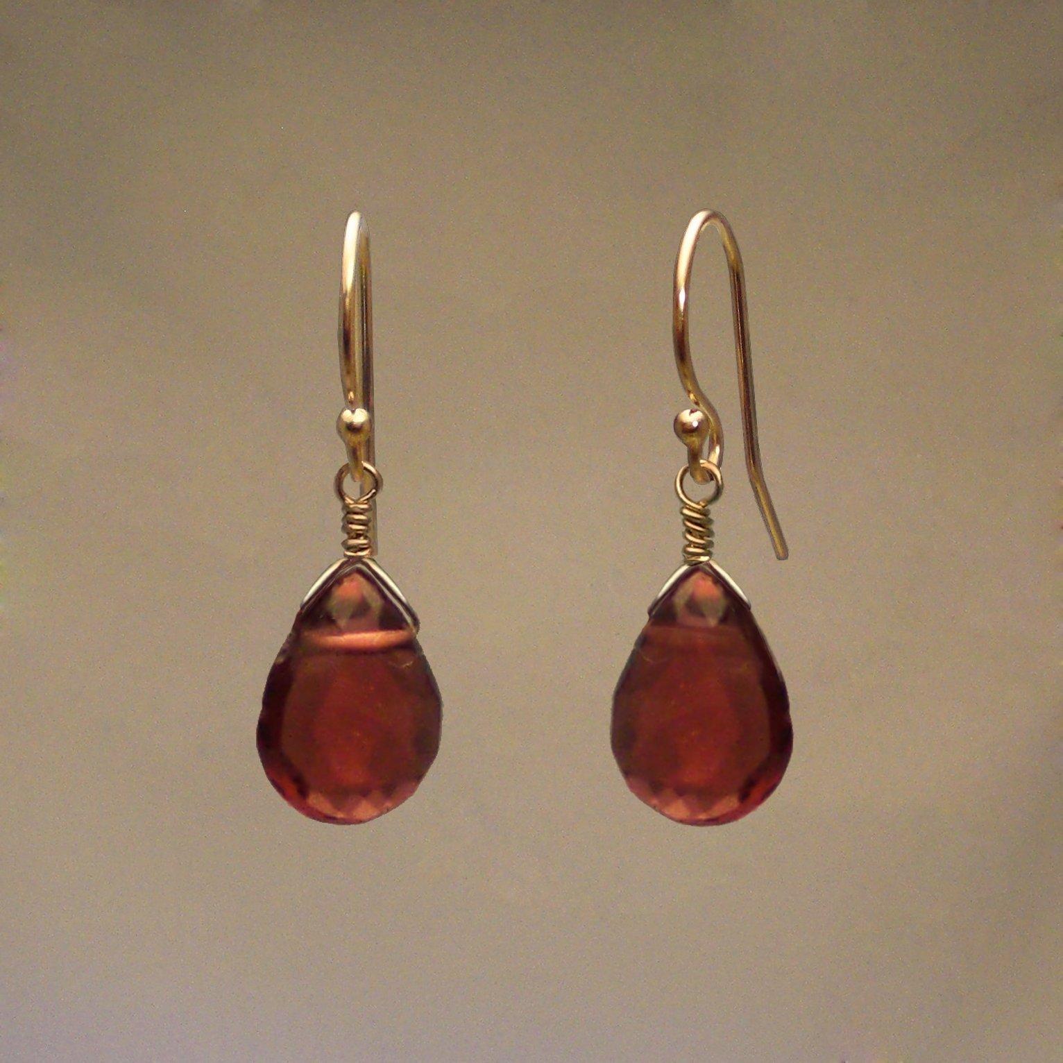 Garnet Gem Drop Earrings
